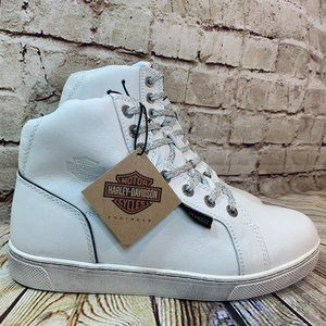 Harley Davidson Mens White Leather Boots Size 8.5